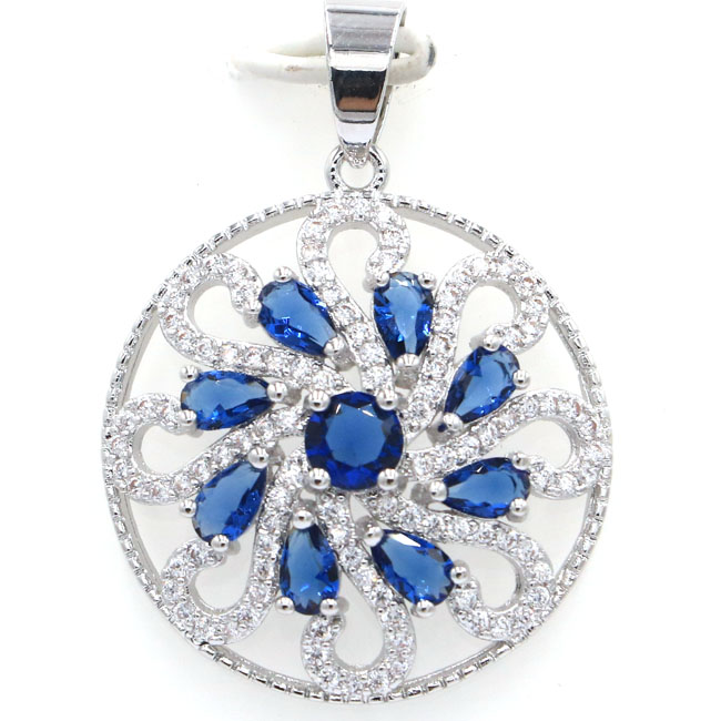 Hot Sell Flowers Tanzanite White Cubic Zirconia Silver Pendant 35x26mmHot Sell Flowers Tanzanite White Cubic Zirconia Silver Pendant 35x26mm