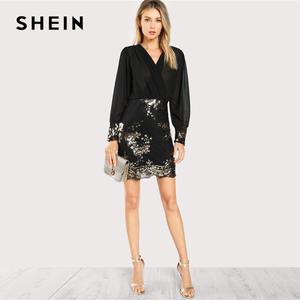 Image 4 - SHEIN Black See Through Wrap Floral Sequin Bodice Party Dress Women 2019 Spring V Neck Long Sleeve Sheath Slim Elegant Dresses