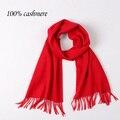 Осень и зима высокое качество мужчины и женщины шарфы женщина чистый цвет красный кашемировые шарфы большой платок зимний шарф люкс бренд