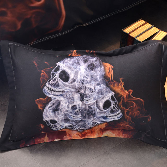 3D FLAME SKULL BEDDING SET (2 VARIAN)