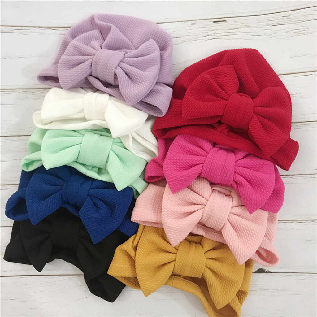Baby Bow Headband Cute Unisex Hat Solid Elastic Big Bow Design Hat Baby Headbands For Girls Birthday Party Accessories