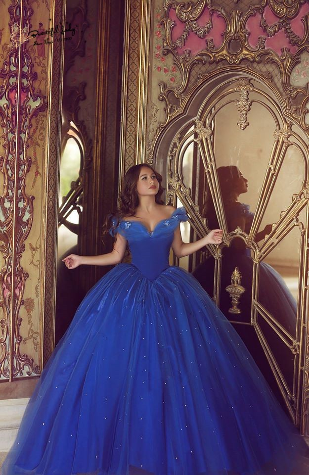 royal blue cinderella prom dress