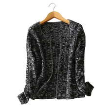 contract color spring and autumn thick open stitch cardigan women long sleeve O-neck open sweaters pure cashmere knitting