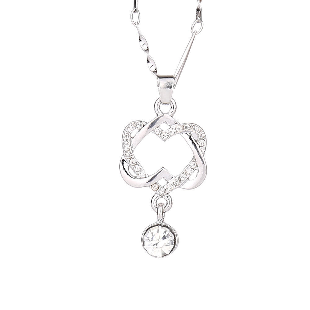 2019 Crystal Heart Romantic Concentric Knot Pendant Women Lovely Pendant Wedding Chain Girls Spring Rhinestone Necklace Jewelry in Pendants from Jewelry Accessories