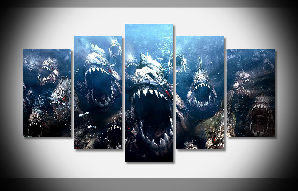 2615 piranha movie Poster Framed Gallery wrap art print home wall decor wall picture Already to hang digital print wholesale