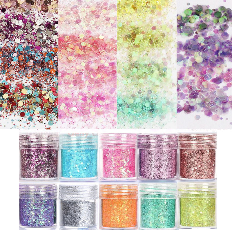 10 Ml Nagel Glitter Mixed 0,2-2mm Metallic Hexagon Rosa Blau Nail Art Pulver Glitters Tipp Diy Art Deco Glitter Flakes Cma023 Schönheit & Gesundheit
