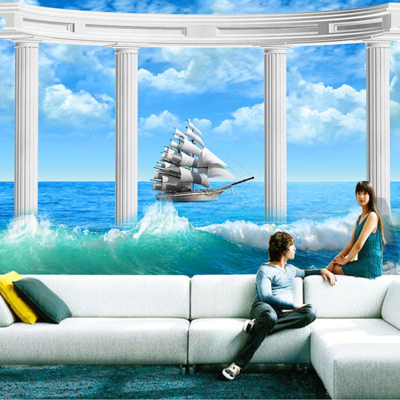 Custom 3D Modern Art Photo Non-woven Mural Wallpaper 3D Living Room TV Backdrop Roman Column Love Sailing Seaphoto Wallpaper custom 3d room mural wallpaper non woven wallpaper senery red maple forest photo living room tv backdrop bedroom photo wallpaper