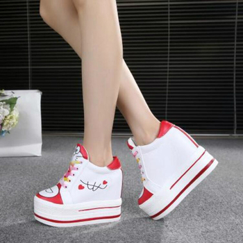 Women Sneakers 2020 Spring Autumn High Heels Ladies Casual Shoes Women Wedges Platform Shoes Female Thick Bottom Trainers  3