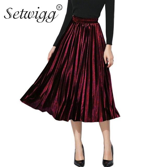 fe22c2977 SETWIGG Korean Style Winter Pleuche A-line Long Pleated Skirts Stretch  Waisted Elegant Velvet Mid-calf Pleated Skirts SG2922