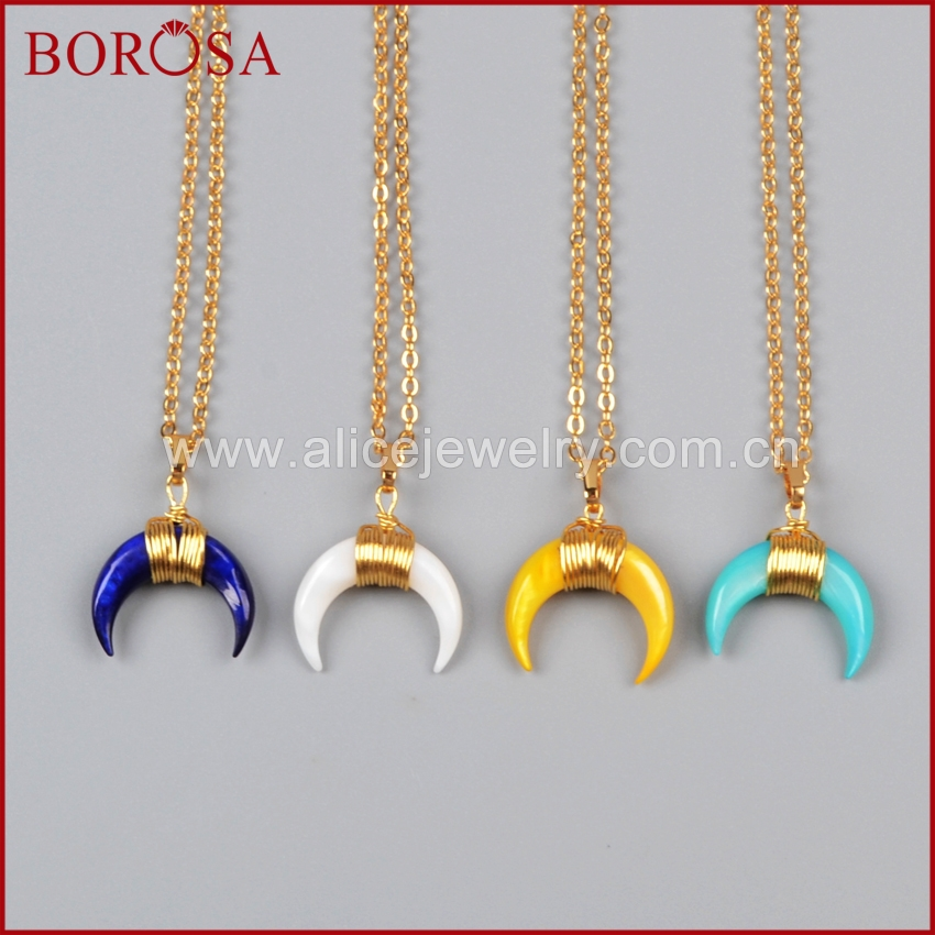 BOROSA Mixed Colors Gold Color Wire Wrap Double Horn&moon crescent shape Rainbow Shell Pendant 16inch Necklaces G1123-N