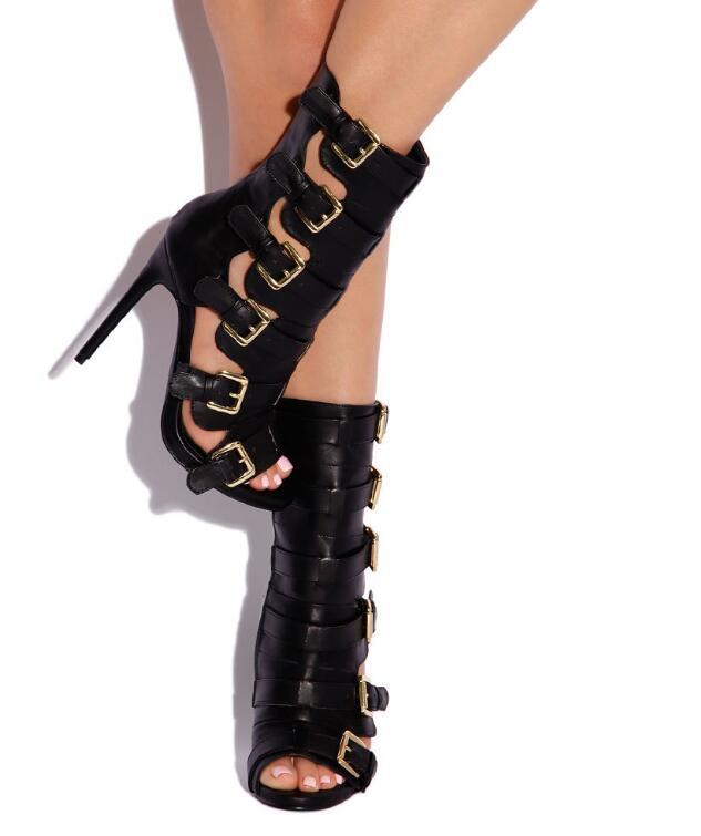 Punta negro Mujeres Zapatos Picture Señoras Hebillas Abierta Sexy Botines Recorte Camiseta Del Vestido Tacón Estilo Alto Botas as Blanco Picture Python Moda As wIxq4Aw