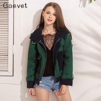 Gaovot Women Winter Jacket Lambs Wool Warm Suede Patchwork Basic Coat Thick Zipper Up Casual Abrigos