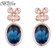 Genuine Crystals From SWAROVSKI Piercing Earrings 2017 Fashion Rose Gold Color Orecchini Wedding Party Jewelry For Women(China)