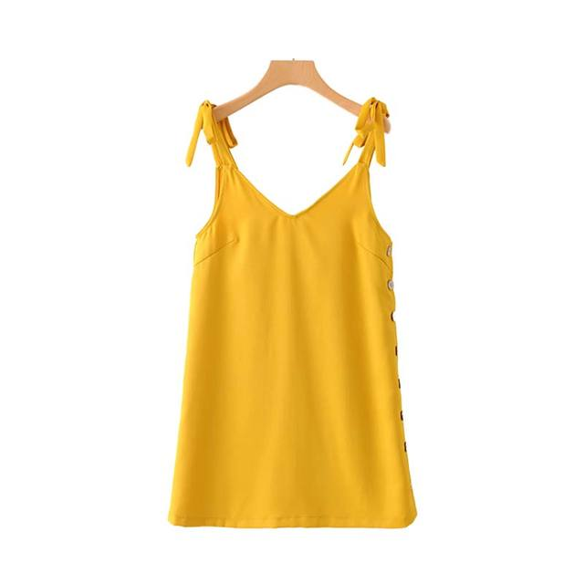 Women Solid Yellow V Neck...