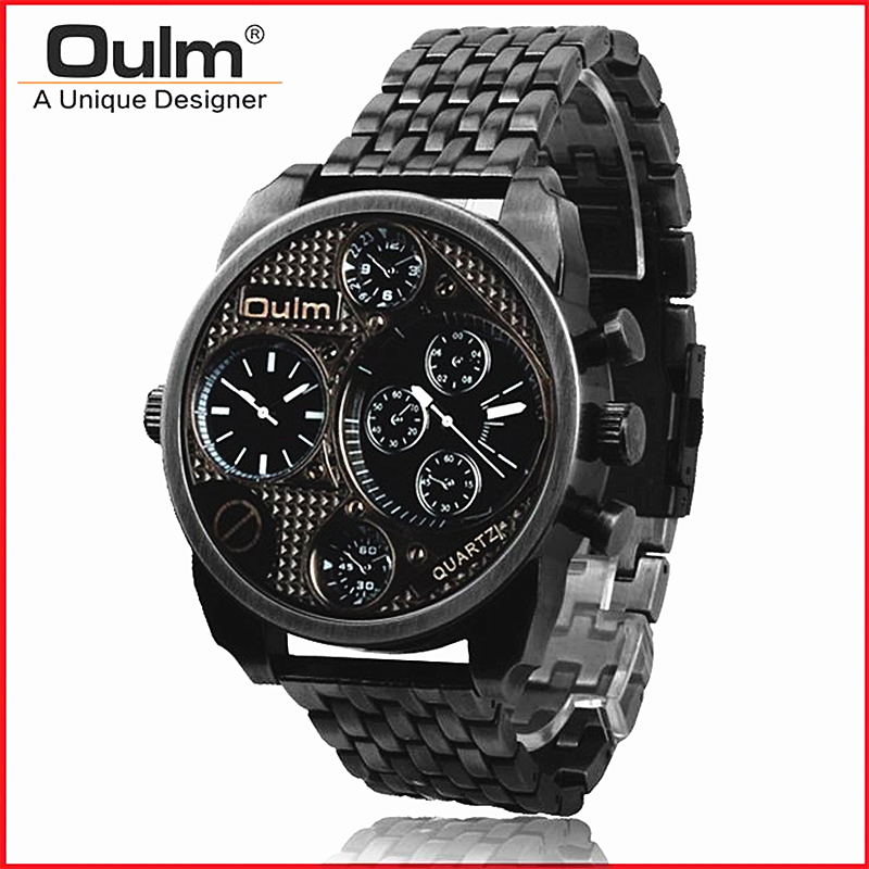 OULM Men Watch Vintage Bronze Military Watches stainless steel Sport wristwatch Big dial Relogios Luxury brand Male Quartz Watch oulm large big dial luxury mens sports watches male quartz watch pu leather strap wristwatch relogios masculino esportivo
