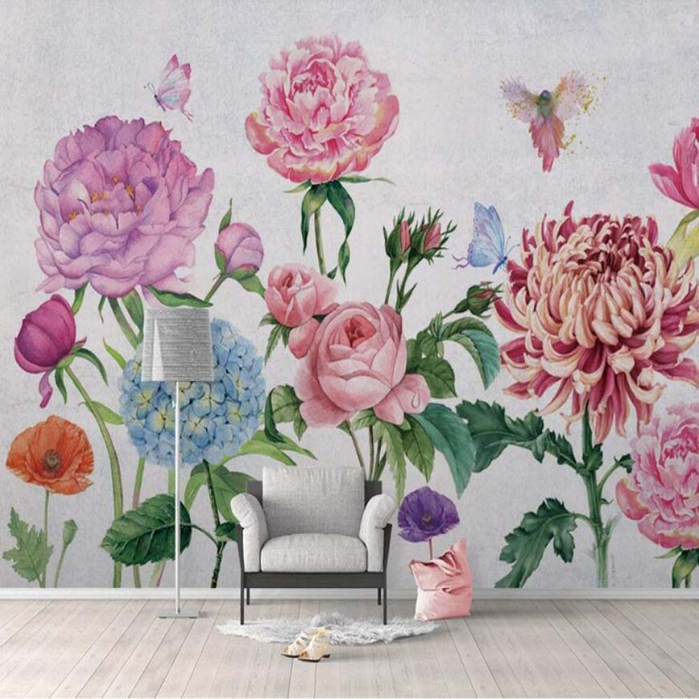 3d Watercolor Pink Flower Wallpaper Mural Wall Murals Decal For