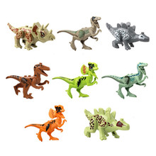 ФОТО 1pcs mini jurassic word 2 dinosaurs jurassic world indominus rex toy model building blocks for children