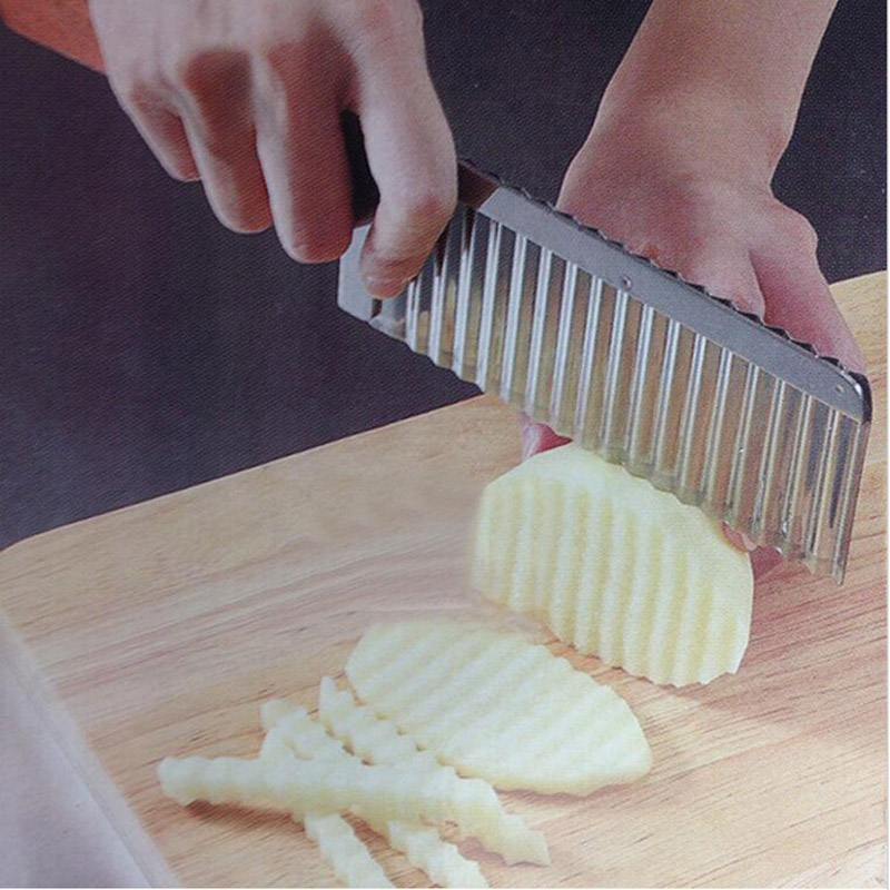 practical Potato Waves Crinkle Cutter Stainless Steel Kitchen Gadget Vegetable F
