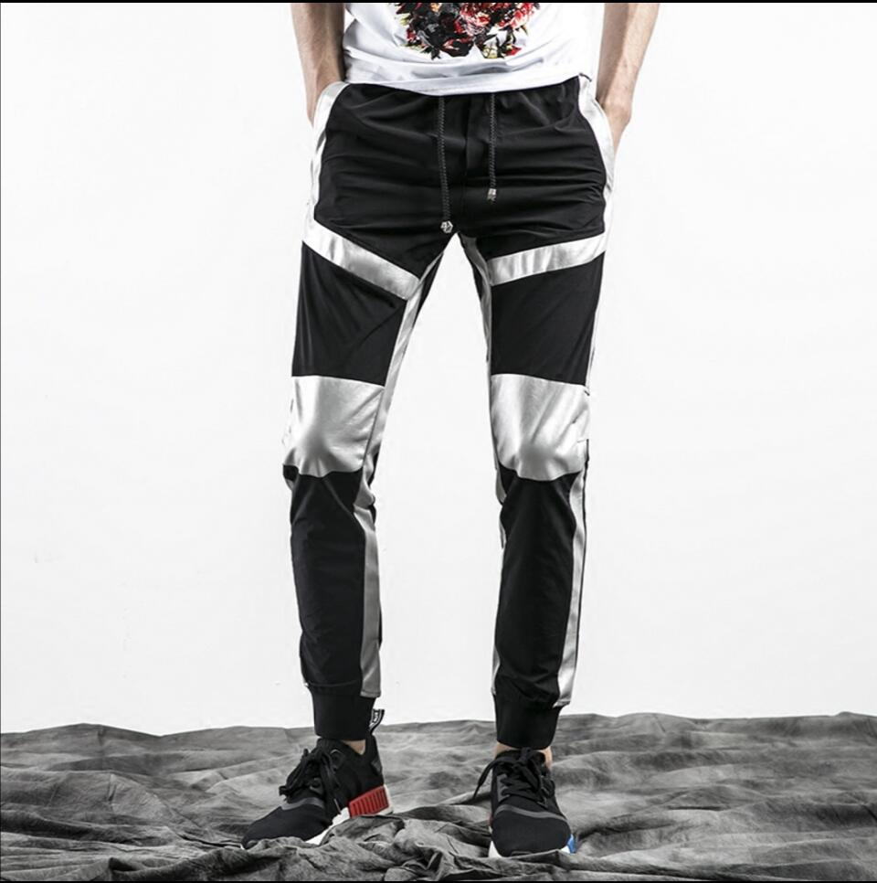 77a2c36211a M-4XL Spring and summer plus size Trendy pants men thin section collection  of feet pants black and Silver splicing pants