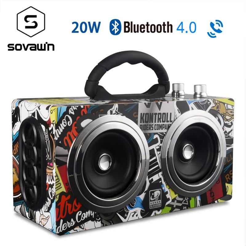 Sans fil en bois Bluetooth 4.0 haut-parleur 20W basse Portable Mini extérieur stéréo sous-wooofer rétro haut-parleurs avec Support Radio FM TF