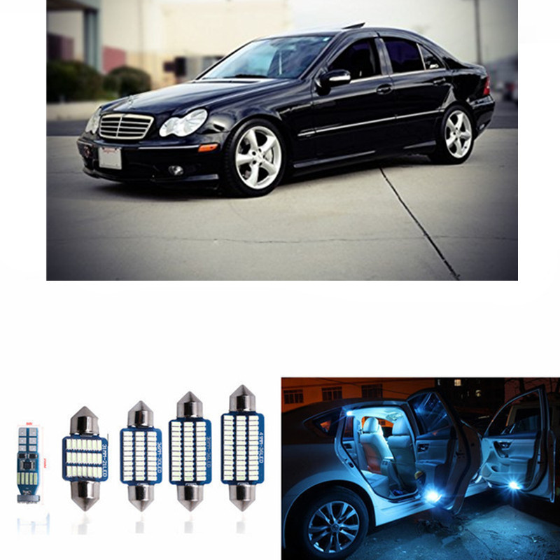 11pcs CANBUS Error Free LED Interior Light Kit Package For Mercedes W203 Accessories Dome Reading Lights2001-2007 White Ice Blue