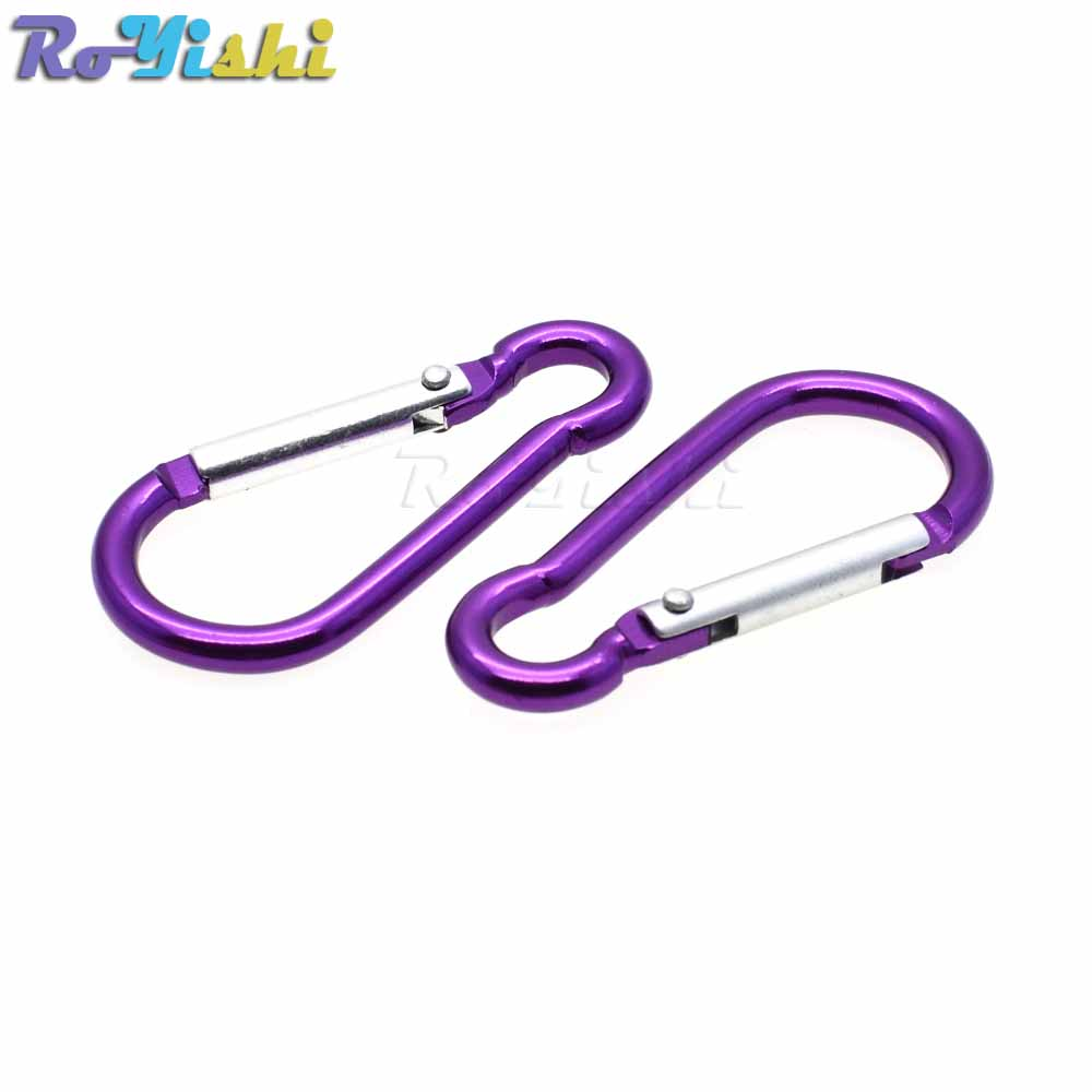 Image 4 - 10pcs/pack Aluminum Carabiner Snap Hook Keychain For Paracord Outdoor Activities Hiking Camping 10 Colors-in Buckles & Hooks from Home & Garden