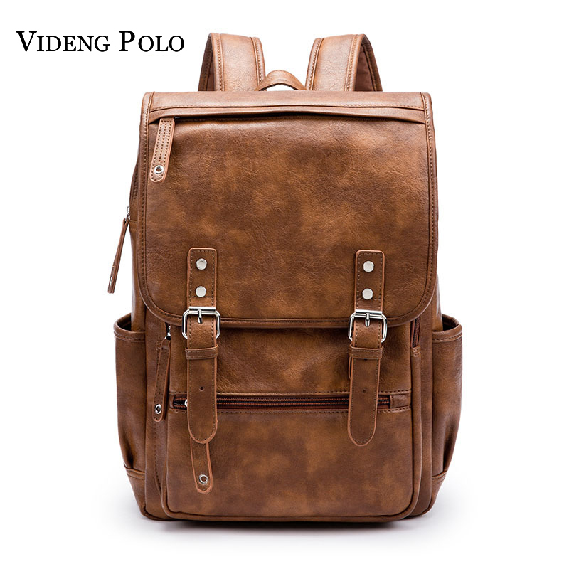 VIDENG POLO New Vintage Style Leather Men 14-15 inches Large Capacity Backpack Male Casual Boys School Shoulder Bags Mochila men backpack student school bag for teenager boys large capacity trip backpacks laptop backpack for 15 inches mochila masculina