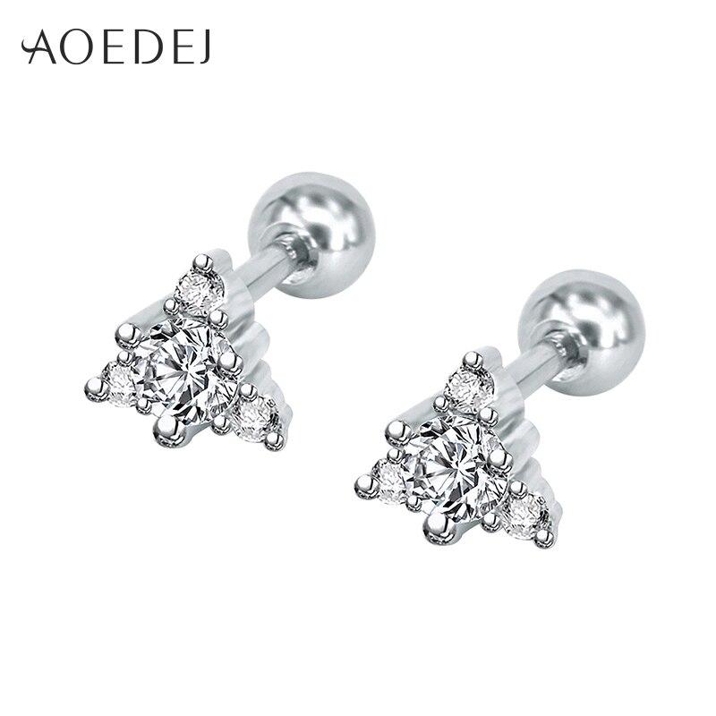 AOEDEJ 5mm Triangle Small Earings For Girls Stainless Steel Crystal Earrings Ear Studs For Women Jewelry Oorbellen Kinderen
