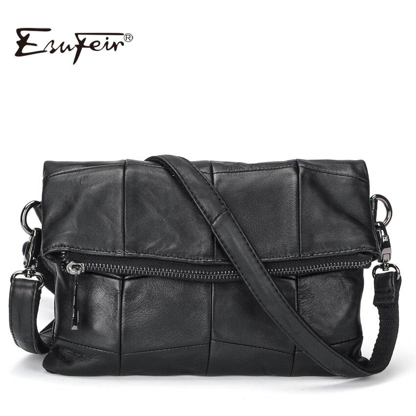 2019 ESUFEIR Brand Genuine Leather Women Messenger Bag Patchwork Sheepskin Leather Shoulder Bag Women Crossbody Bag Daily Clutch