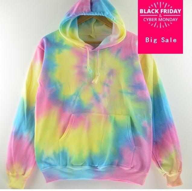 Harajuku tie-dyeing Plus Size Fashion Gradient Color Tie-dyed Harajuku Hoodies Sweatshirt Women Korean Fall Style Rainbow AW431