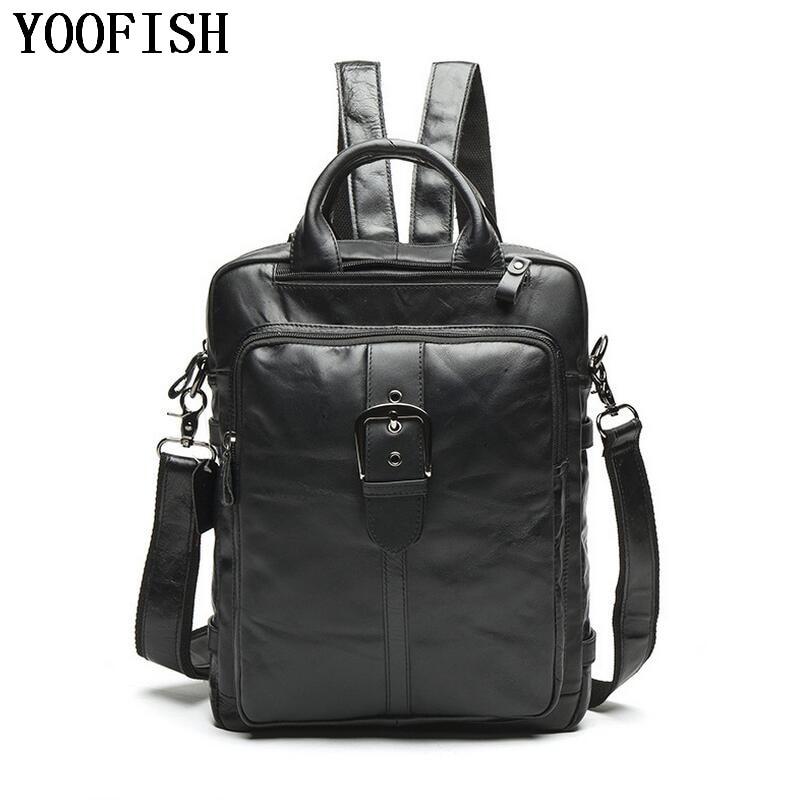 цена Fashion Genuine Leather Men Backpacks Man Travel Bag function bags Backpack Male women Backpack Schoolbag Business Backpacks