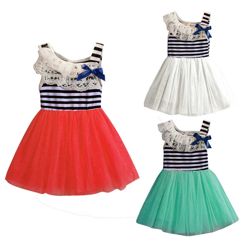 2017 New Tutu Princess Dress Summer Baby Girls Striped Clothing Bowknot Sleeveless Dress Princess Party Kids 1-4 years old P4 summer kids girls tutu one piece sleeveless big bowknot party floral dress