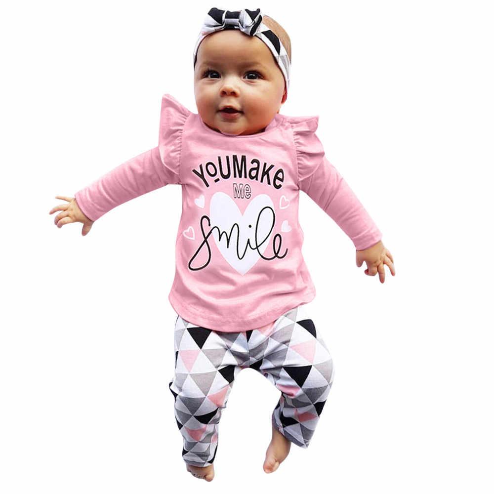 Para ropa de recién nacido, ropa para bebés, niñas, niños, ropa con estampado de letras, Tops, pantalones geométricos, conjunto de trajes, ropa infantil