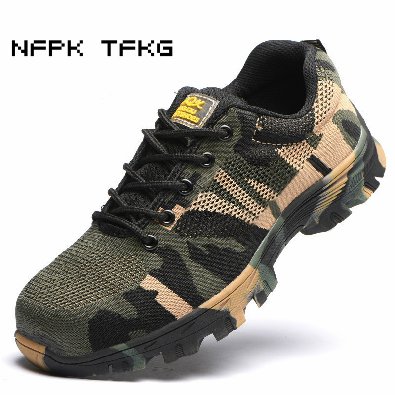 men casual large size comfortable steel toe caps work safety shoes non-slip building site sneakers summer security boots protect все цены