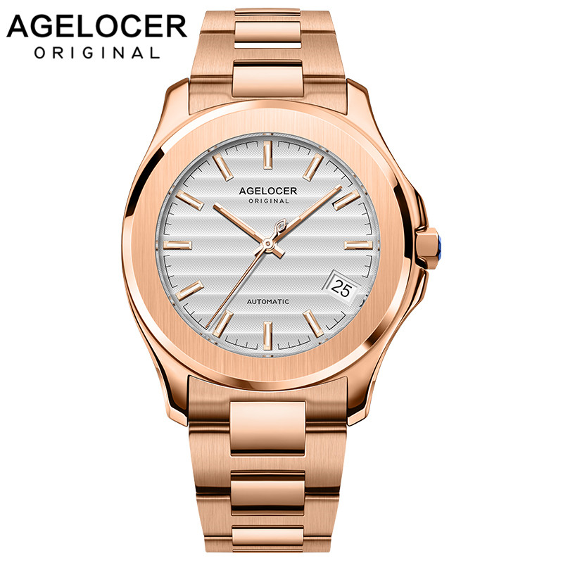 AGELOCER Gold Watch 316L Steel Men Watches Swiss Top Brand Luxury Relogio Male Clock Men Watch Montre Homme Mechanical Watch