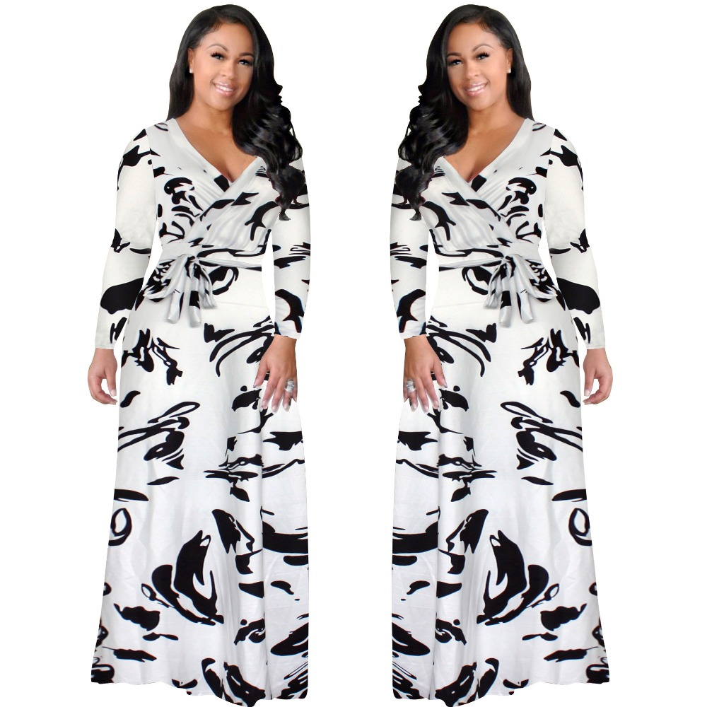 2017 New Arrival Women Maxi Dresses V-Neck Long Sleeve Womens Fashion black and white Long Party Dress D1134