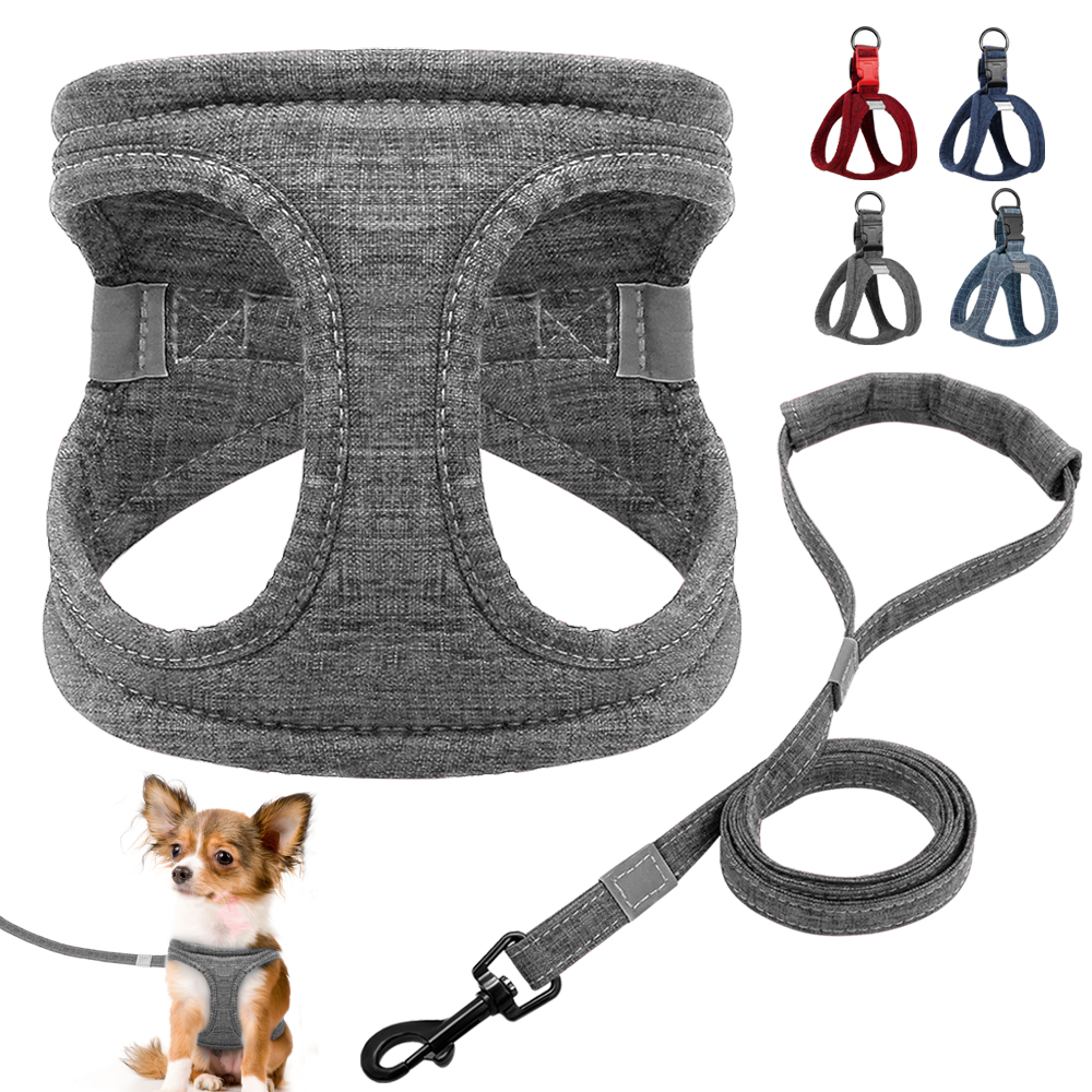 Dog Harness For Small Dogs Reflective Pet Harness And Leash Set Soft Padded Cat Vest Dog Lead Leash For Chihuahua Bulldog