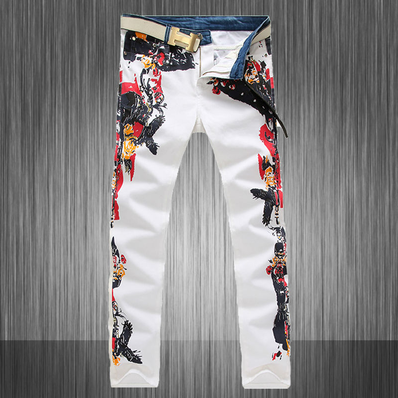 Top Fashion 2016 New Latest Floral Printed Jeans Men, Mens High Quality White And Blue Denim Patchwork Jean Slim Fit Size:28-38