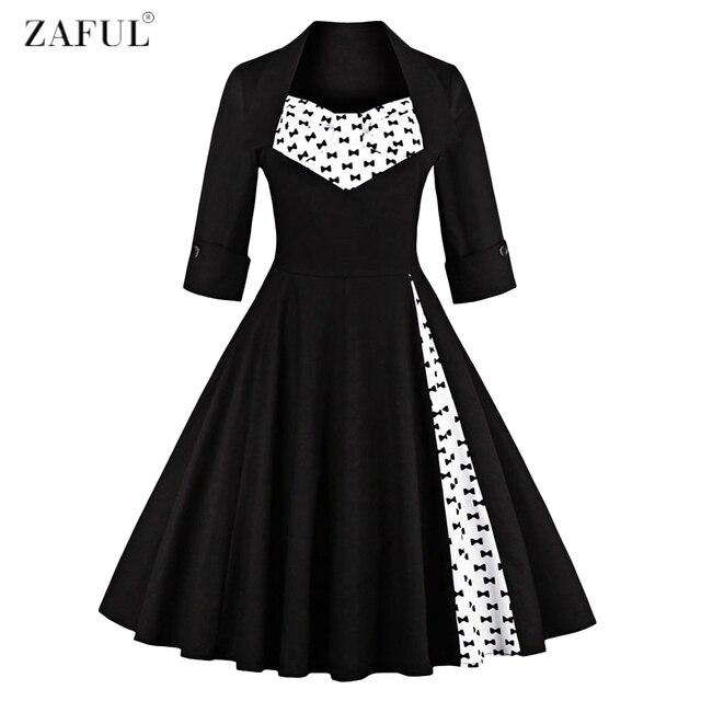 3db945c11a6f7 Plus Size S~4XL Women Elegant Vintage Swing Dress Party Dresses 3/4 Sleeves  Square Neck 60s Rockabilly Feminino Vestidos