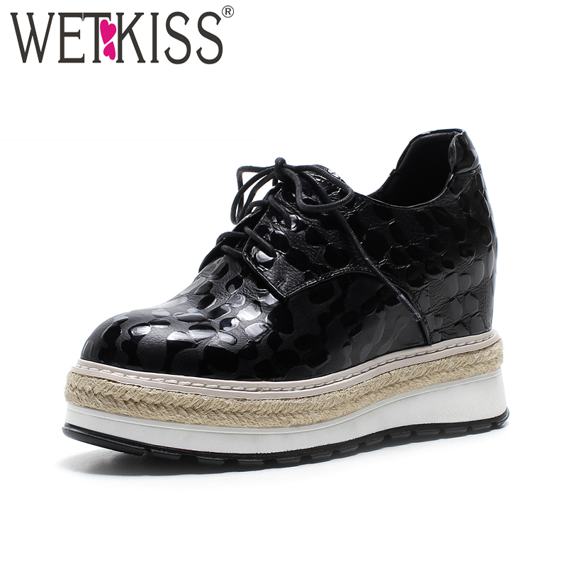 WETKISS New Arrival Women Flat Genuine Leather Platform Elevator Shoes Round Toe Lace Up Footwear Spring Fashion Women Shoes