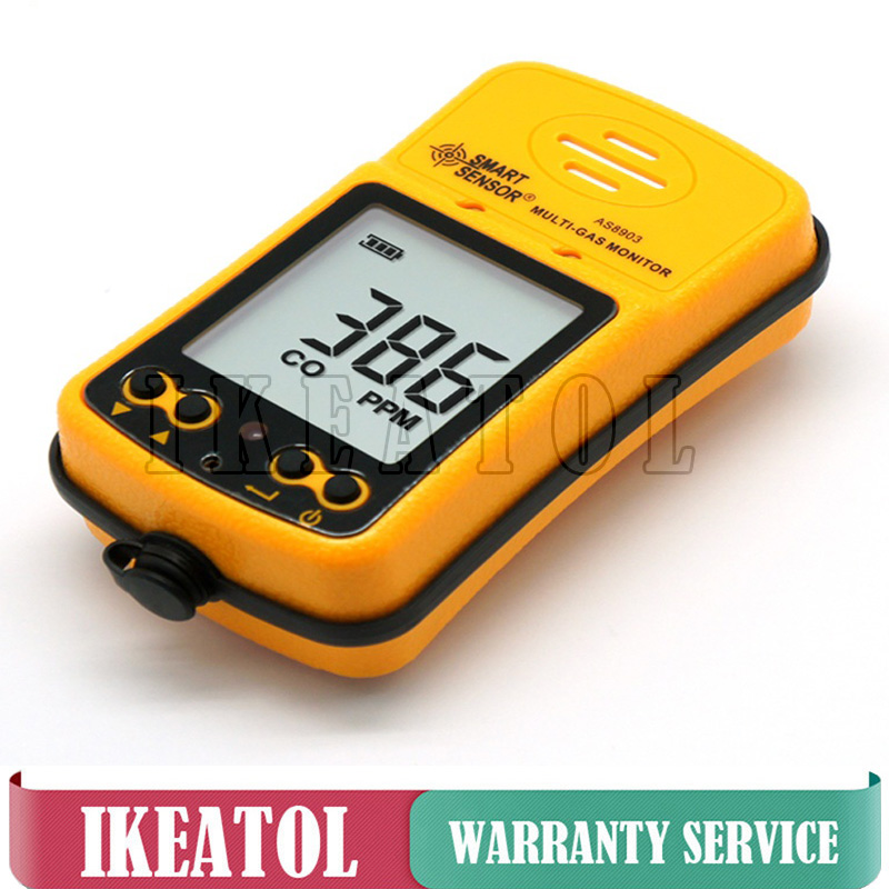 AS8903 CO H2S Gas Leak Detection Tester Carbon Monoxide Hydrogen Sulfide 2 in 1 Gas Monitor Detector