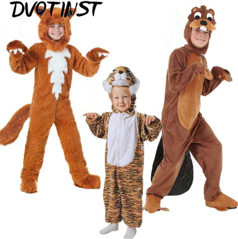 Фото Dvotinst Baby Boys Girls Clothes Kid Animals Otter Tiger Fox Performance Halloween Party Playsuit Purim Cosplay Costume Clothing