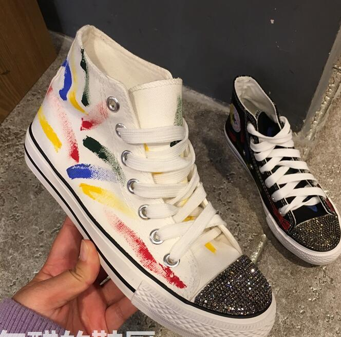 680e363f4564 diy Watercolor painting canvas shoes high help casual shoes 2018 spring new  rhinestone student shoes fine with flat shoes women