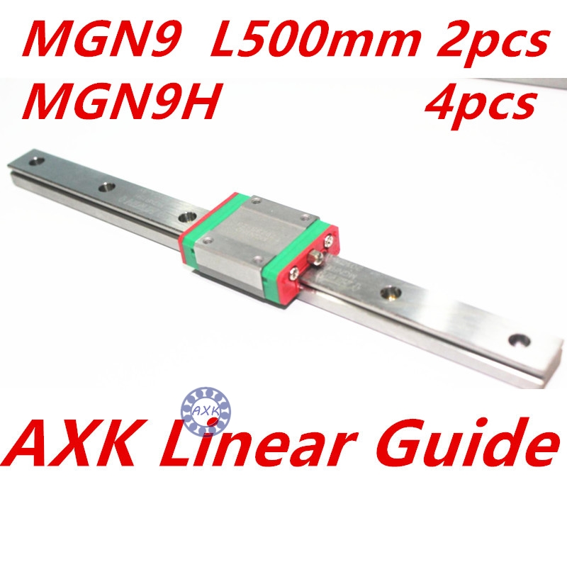 Kossel Mini MGN9 9mm miniature linear slide set: 2pcs MGN9 L- 500mm linear rail with 4pcs MGN9H linear block carriage kossel pro miniature 7mm linear slide 2pcs mgn7 450mm rail 2pcs mgn7h carriage for x y z axies 3d printer parts