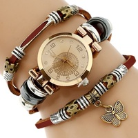 NEW Women Genuine Leather Watch Triple Bracelet Watch Butterfly Charm Wristwatch Fashion Reloj Para Dama Watch