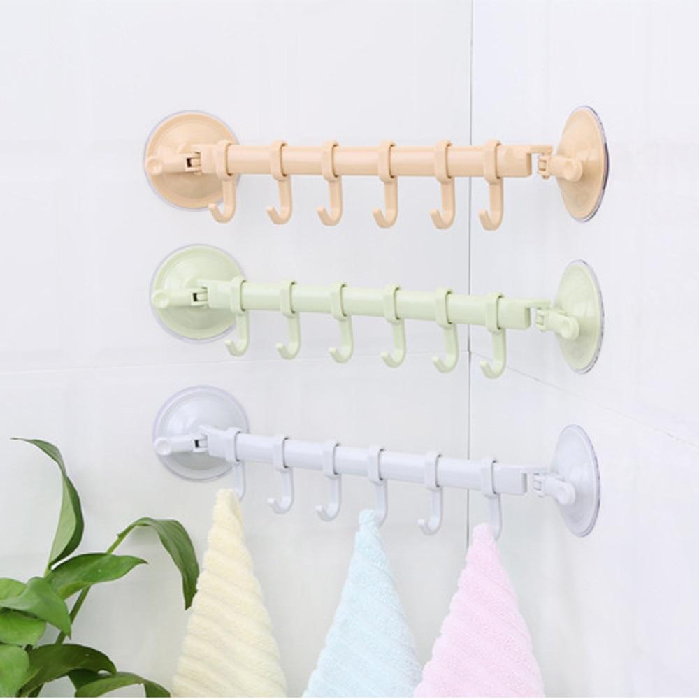 1PC Adjustable Hook Rack Double Suction Cup Towel Rack Hanging Shelves Hook Holder Lock Type Sucker Kitchen Bathroom Accessories