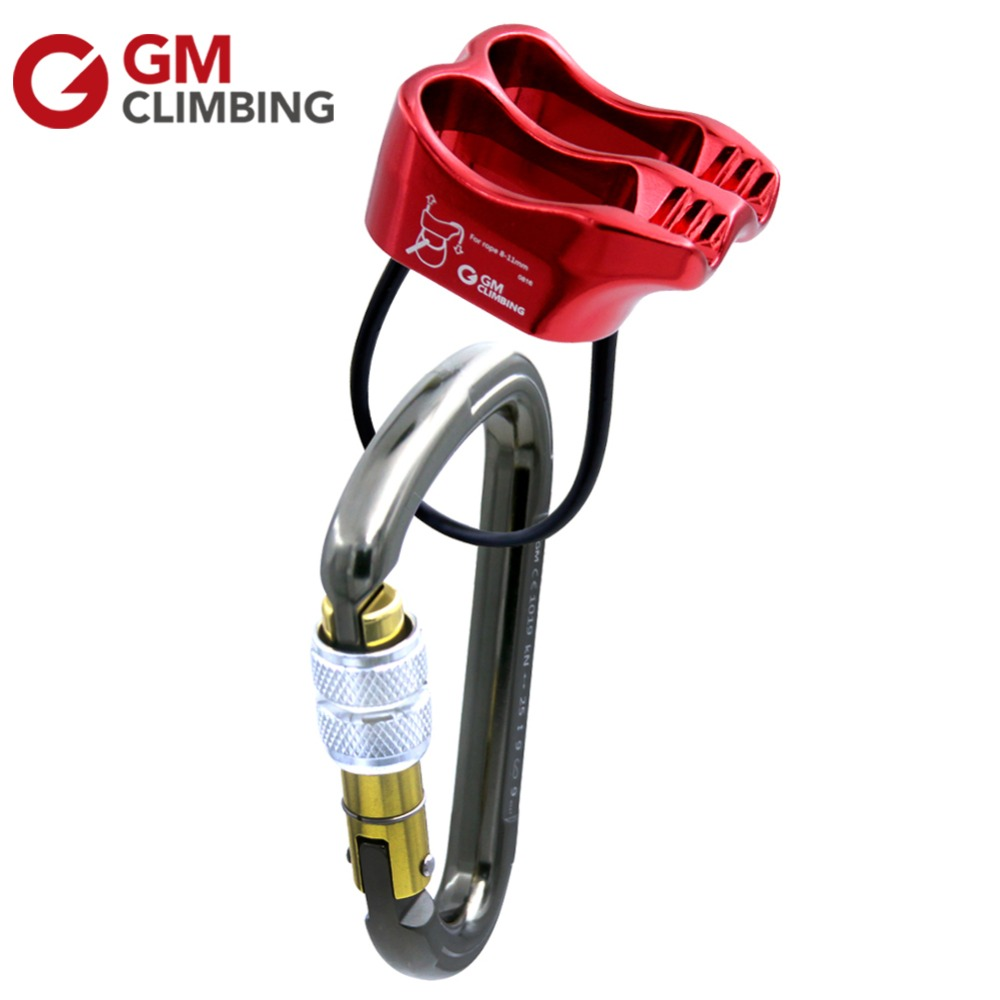 Climbing Belay Device With Aluminum Screw Locking Rock Climbing Carabiner 25KN HMS Rappelling Mountaineering Equipment