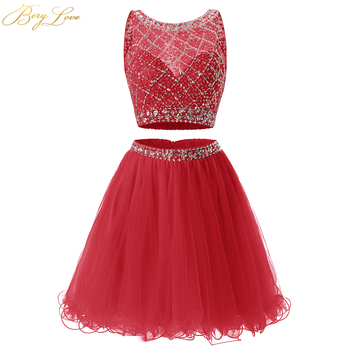 6a8e45480c1db0a Berylove короткое красное платье для выпускного вечера 2019 два предмета с  мелким бисером тюль платье для