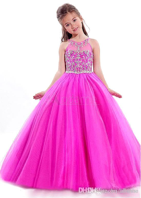 Vestido De Comunion Beaded   Flowers     Girl     Dresses   Halter Neck Ball Gown   Girls   Pageant   Dresses   Prom   Dress   Children