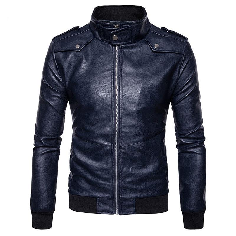Motorcycle Leather Jacket 2017 Fashion Stand Collar Men PU Leather Jacket Veste Cuir Homme Pocket Zipper Mens Jackets Coats 2XL
